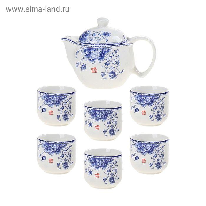 """Набор для чайной церемонии 7 предметов """"Цветение астры"""" (чайник 300 мл, чашка 70 мл)"""