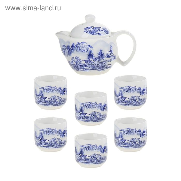 """Набор для чайной церемонии 7 предметов """"Горный пейзаж"""" (чайник 700 мл, чашка 70 мл)"""
