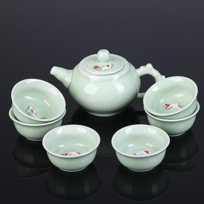 """Набор для чайной церемонии """"Лунный камень"""", 7 предметов: чайник 150 мл, чашка 50 мл, цвет лазурь"""