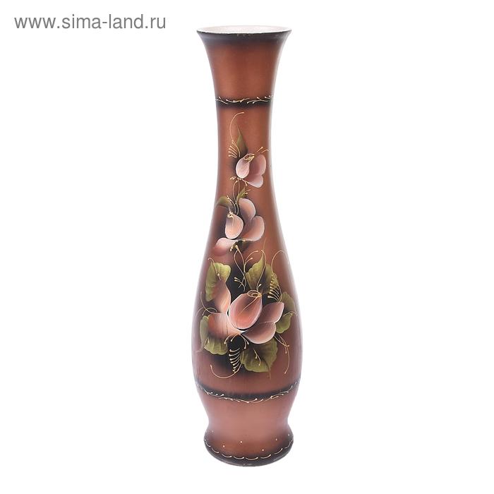 """Ваза напольная """"Грация"""" акрил, коричневый, цветы"""