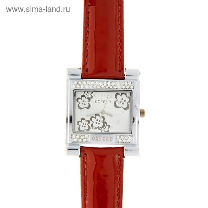 Часы наручные женские Oxford Fashion, серебристый корпус, бордовый глянцевый ремешок
