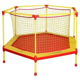 Батут-манеж Leco-IT Home, d=135 см, с внутренней защитной сеткой, жёлтый/красный