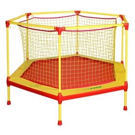 Батут-манеж Leco-IT Home, d=180 см, с внутренней защитной сеткой, жёлтый/красный