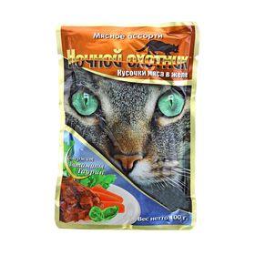 """Влажный корм """"Ночной охотник"""" для кошек, мясное ассорти в желе, пауч, 100 г"""