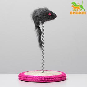 """Дразнилка для кошек """"Мышь на сизалевой подставке"""", 16 х 27 см, микс цветов"""