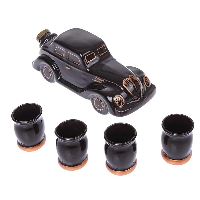 """Штоф с рюмками """"Машина"""" чёрный, 5 предметов, 0,7 л"""