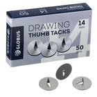 Кнопки канцелярские 14 мм, 50 шт., GLOBUS, в картонной коробке.