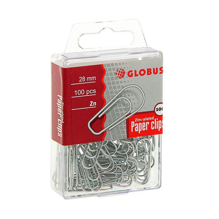 Скрепки канцелярские 28 мм оцинкованные 100 штук GLOBUS, пластиковый бокс