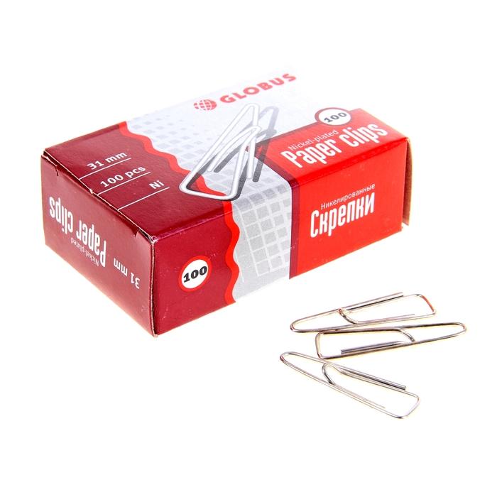 Скрепки канцелярские 31 мм никель 100 штук GLOBUS с загнутым краем, картонная коробка С31-100 Н