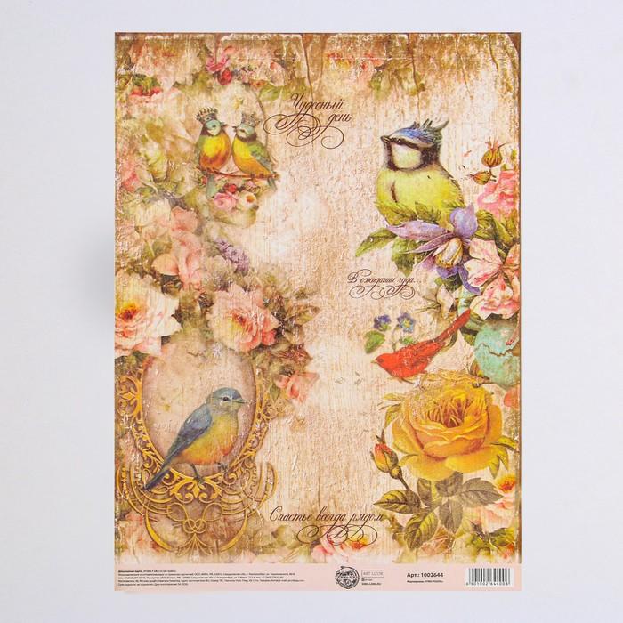 Декупажная карта «Птицы», 21 × 29,7 см