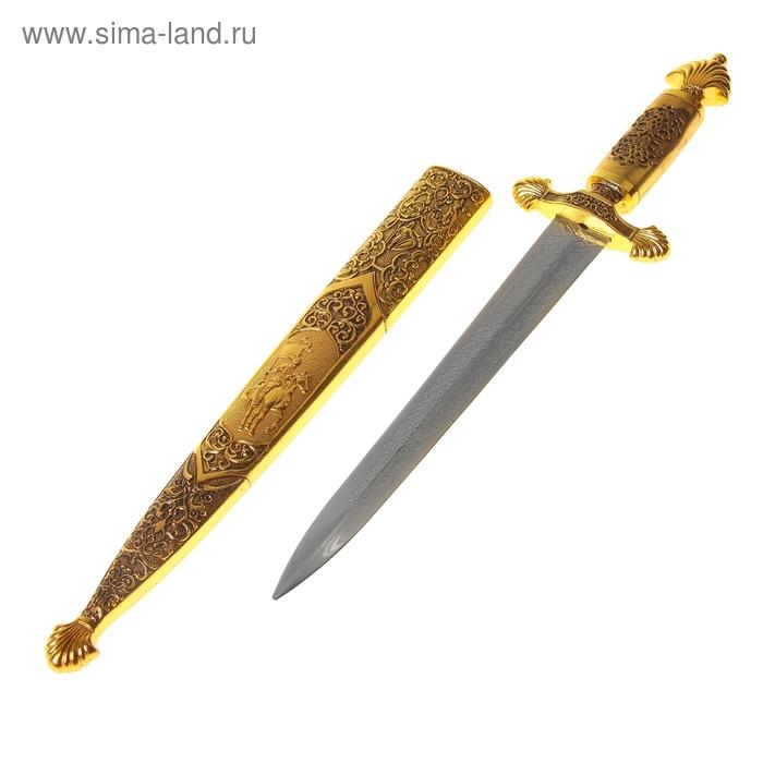 Сувенирный кортик, 41 см, резные ножны с всадником, чернёное золото
