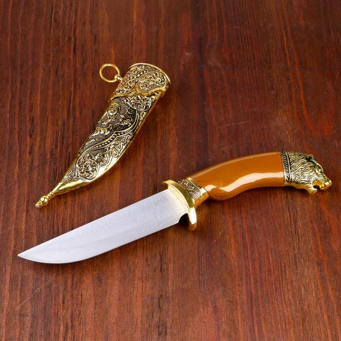 Сувенирный нож, 31 см, рукоять под дерево с головой медведя, ножны расписные