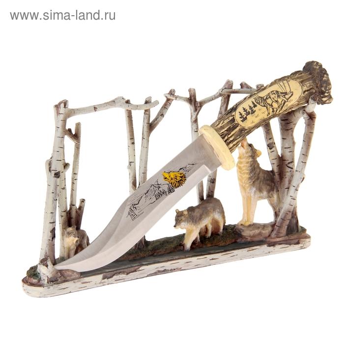 """Нож сувенирный на подставке """"Стая волков в лесу"""""""
