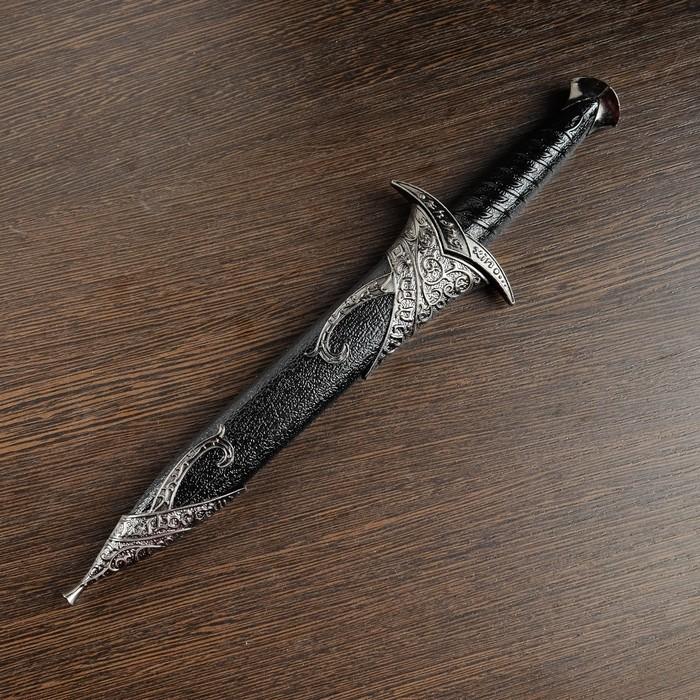 """Сувенирный меч """"Жало"""", лезвие с изгибом на ножнах витые узоры, черный/серебро"""