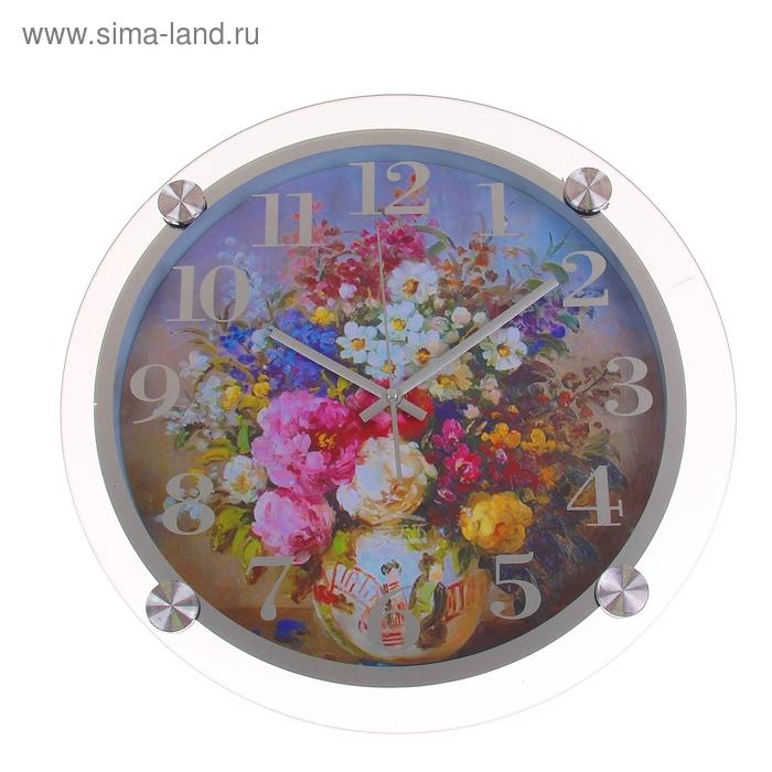 """Часы настенные из стекла """"Букет"""""""