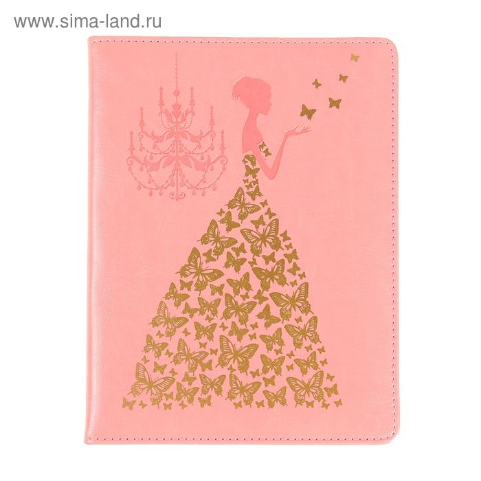 Дневник школьный для старших 5-11классов обл пвх тиснение Принцесса с бабочками светло-розовый 103