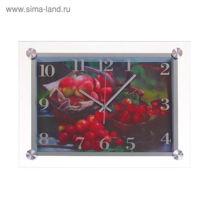 """Часы настенные из стекла """"Вишня и персики"""""""