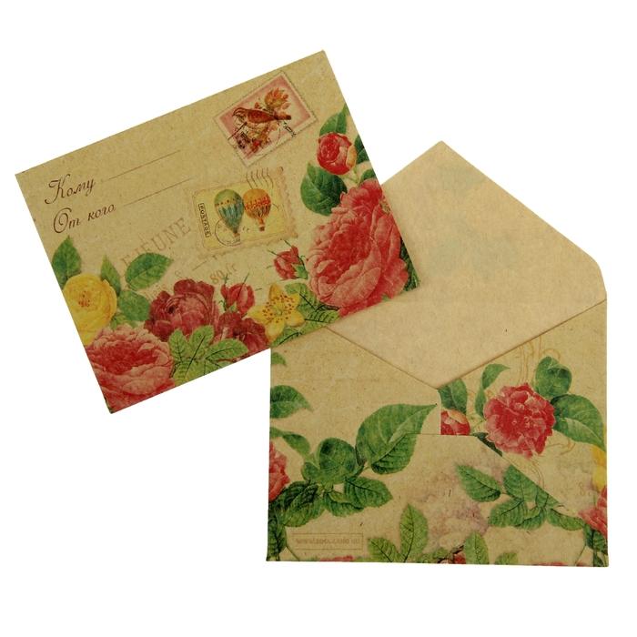 Конверт подарочный «Цветы», 7,5 х 9,8 см