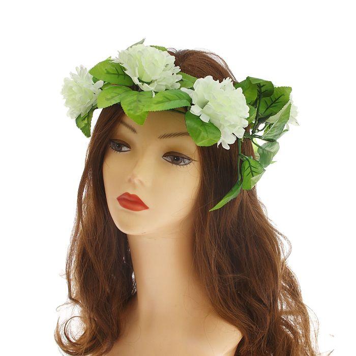 """Венок на голову """"Хризантема"""", цвет белый"""