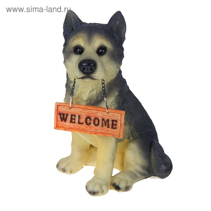 """Садовая фигура """"Верный пес с табличкой Welcome"""""""