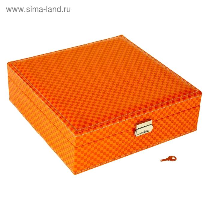 """Шкатулка кожзам для украшений """"Красно-оранжевая клетка"""""""