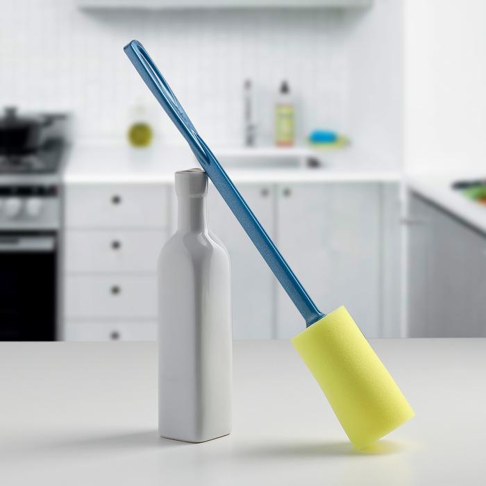 Ершик для мытья бутылок с губкой, цвет МИКС