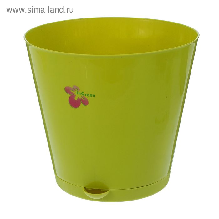 """Горшок для цветов 5 л """"Крит"""" d=22,6 см, с прикорневым поливом, цвет салатовый"""