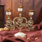 """Brass candle holder for 3 candles 16 cm mother of pearl """"rose heart"""""""