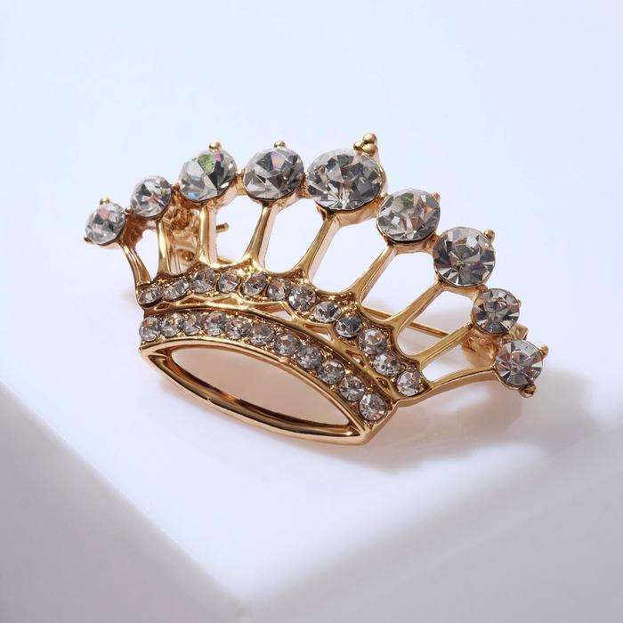 """Брошь """"Корона королевы"""", цвет белый в золоте"""