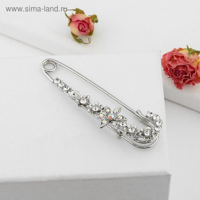 """Булавка """"Цветок"""" россыпь цветов, 7,3 см, цвет бел-радужный в серебре"""