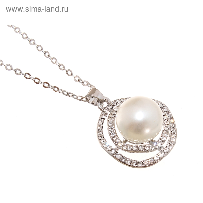 """Кулон """"Жемчужина в кругах"""", цвет белый в серебре, 45см"""