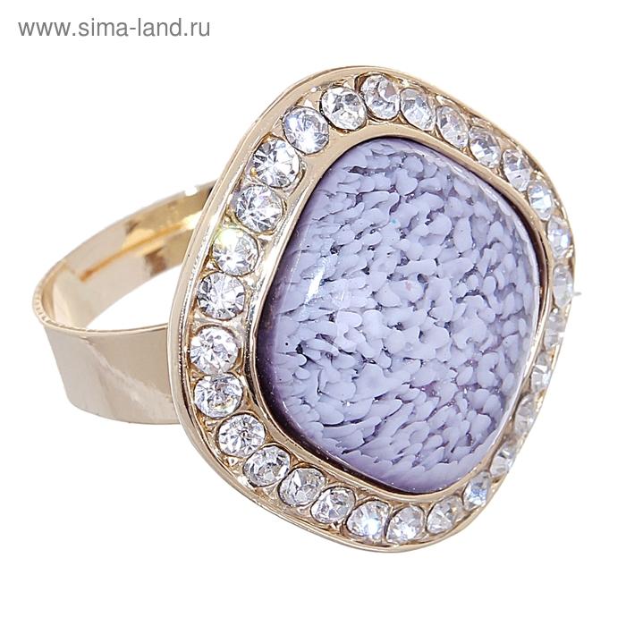 """Кольцо """"Природа"""" ромб, цвет фиолетовый в золоте, безразмерное"""