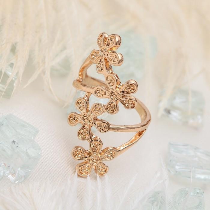 """Кольцо """"Цветочный каскад"""", цвет белый в золоте, размер 17,18,19 МИКС"""