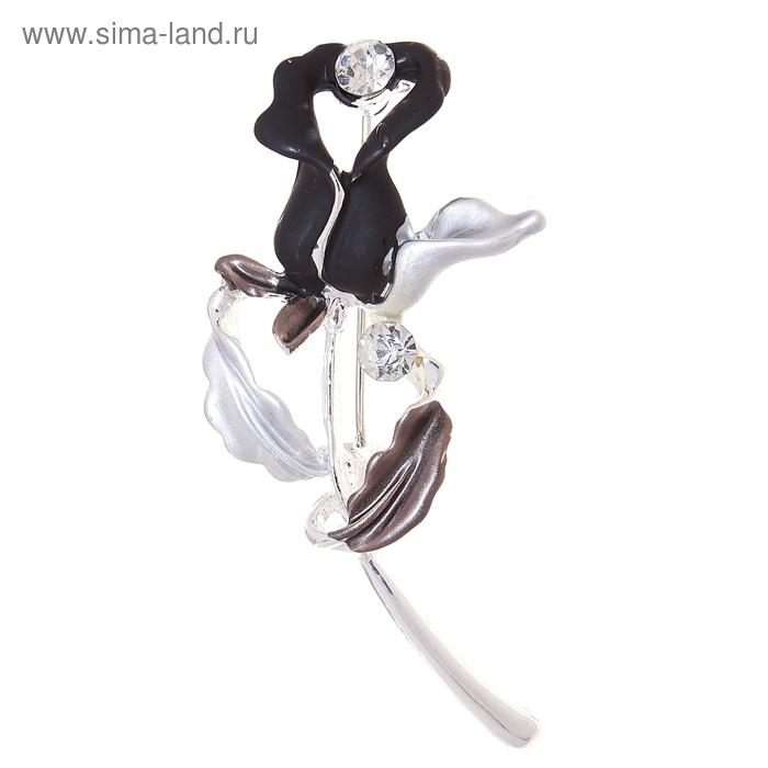 """Брошь """"Цветок"""" чёрный тюльпан, цвет серебро"""