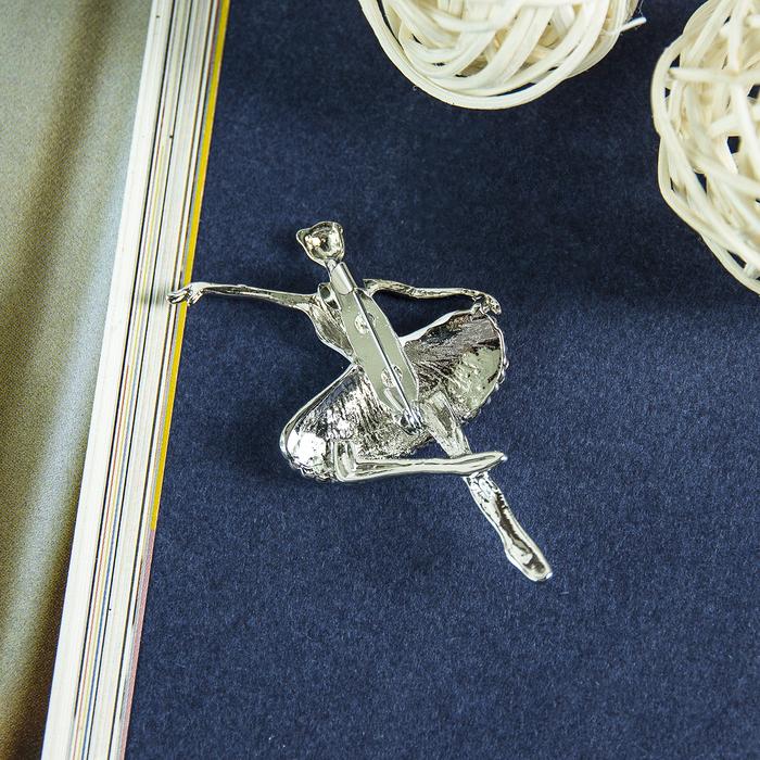 """Брошь """"Балерина"""", цвет белый в серебре - фото 301002426"""