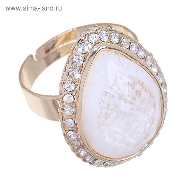 """Кольцо """"Природа"""" капля, цвет белый в золоте, безразмерное"""