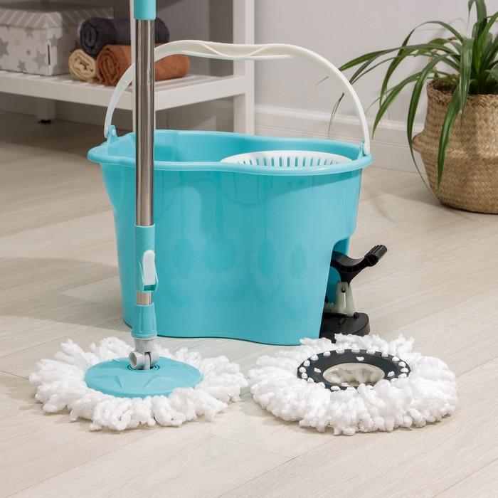 Набор для уборки: ведро с педальным отжимом и пластиковой центрифугой, швабра, цвет МИКС