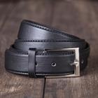 Ремень мужской гладкий, винт, пряжка металл, ширина - 3,5 см, цвет чёрный
