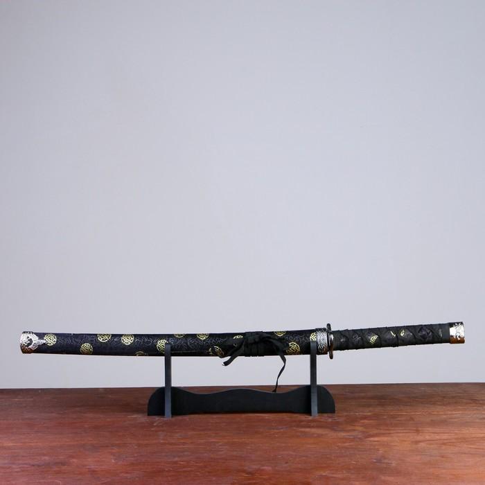 Сувенирное оружие «Катана на подставке», чёрные ножны с золотыми кругами, 89 см