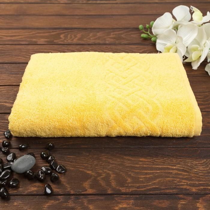 Полотенце махровое жаккард банное Plait, размер 70х130 см, 350 г/м2, цвет жёлтый
