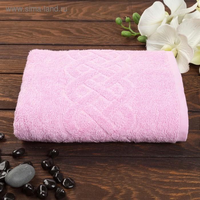 Полотенце махровое жаккард Plait, размер 50х90 см, 360 гр/м2, цвет розовый