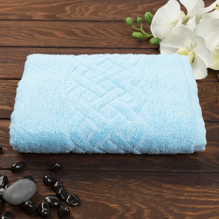Полотенце махровое жаккард Plait, размер 50х90 см, 360 гр/м2, цвет голубой