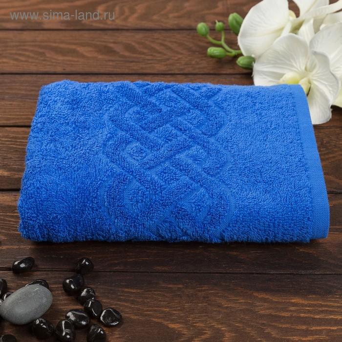 Полотенце махровое жаккард Plait, размер 70х130 см, 350 гр/м2, цвет синий