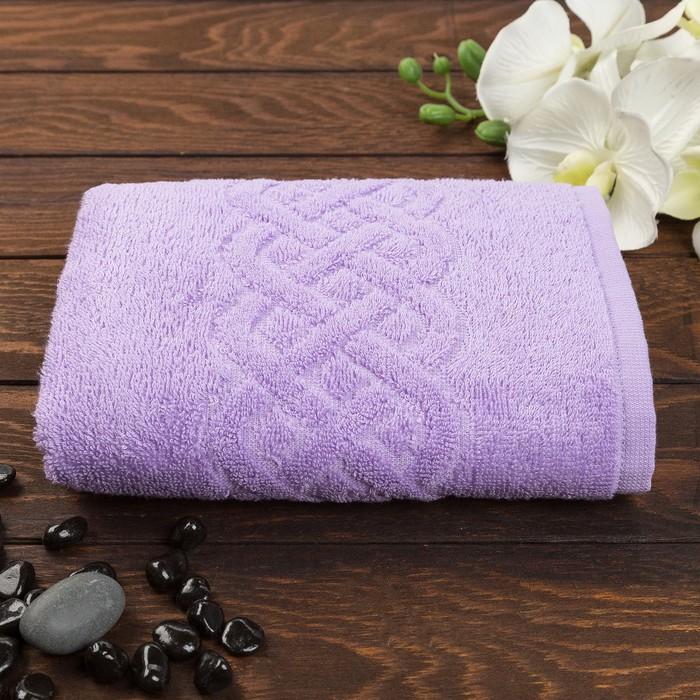 Полотенце махровое жаккард банное Plait, размер 70х130 см, 350 г/м2, цвет фиолетовый