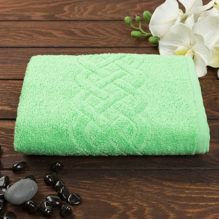 Полотенце махровое жаккард банное Plait, размер 70х130 см, 350 г/м2, цвет зелёный