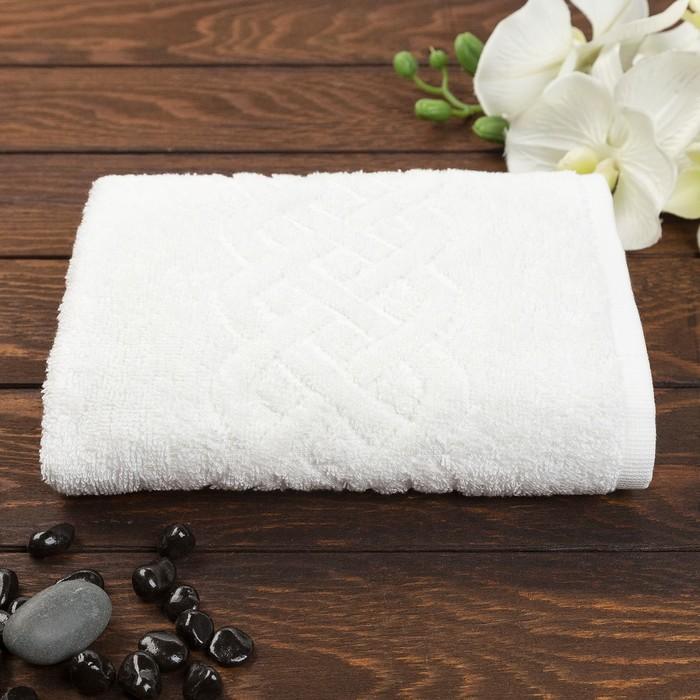 Полотенце махровое жаккард банное Plait, размер 70х130 см, 350 г/м2, цвет белый