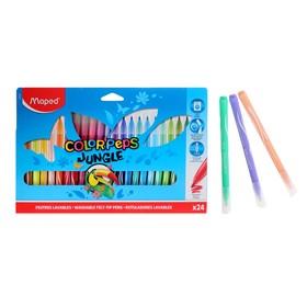 Фломастеры утолщенные 24 цвета, JUNGLE, смываемые