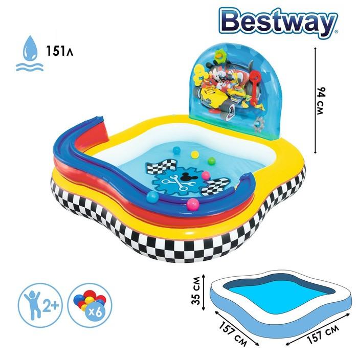 Бассейн надувной игровой «Микки Маус», 157 х 157 х 91 см, игрушки, 6 шариков, от 3 лет