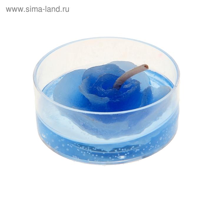 """Свеча гелевая """"Цветочек"""", цвет синий"""