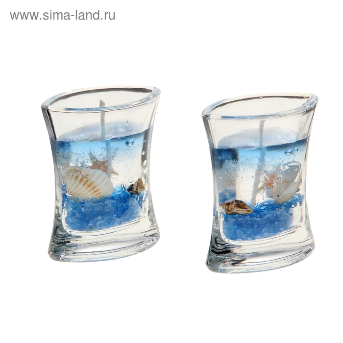 """Свечи гелевые (набор 2 шт) """"Морское дно"""", цвет голубой"""